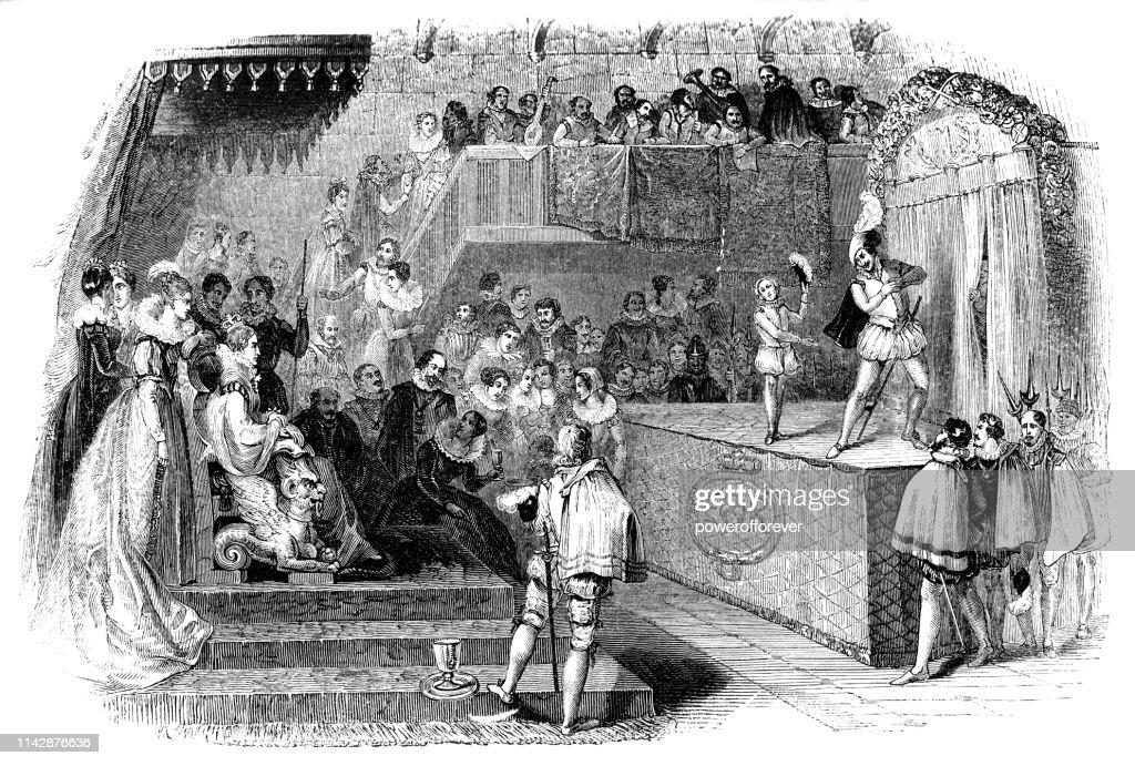 William Shakespeare y los hombres de Lord Chamberlain actuando para la Reina Isabel I-siglo 16 : Ilustración de stock
