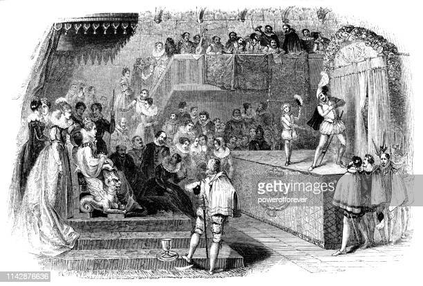 william shakespeare and lord chamberlain's men performing for queen elizabeth i - 16th century - actor stock illustrations