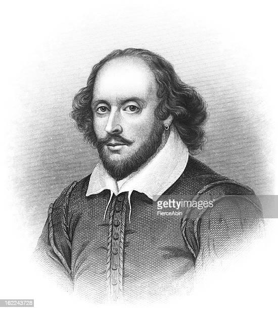 william shakespeare - antique engraved portrait - portrait stock illustrations