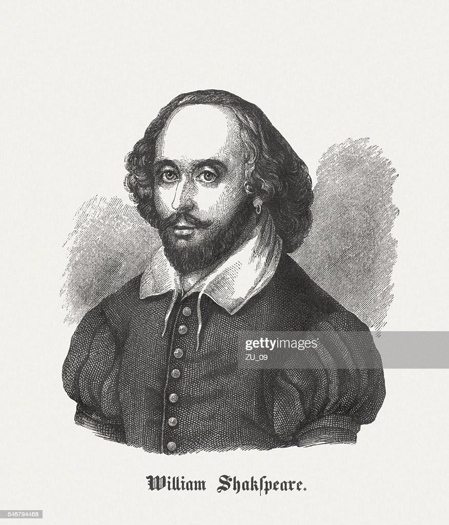 William Shakespeare (c.1564-1616), English playwright, wood engraving, published in 1848 : stock illustration