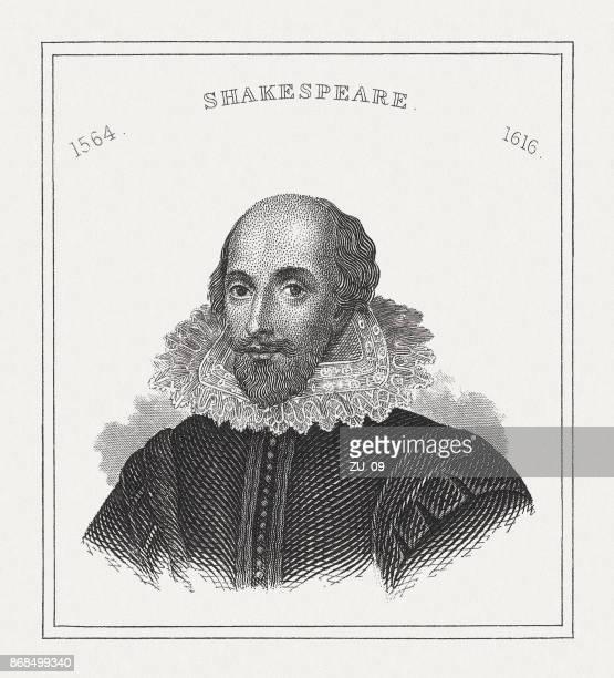 william shakespeare (c.1564-1616), english poet, steel engraving, published in 1843 - william shakespeare stock illustrations, clip art, cartoons, & icons