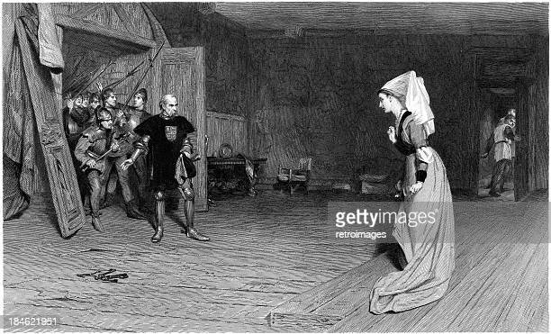 william shakespeare: talbot and countess auvergne, king henry vi (illustration) - william shakespeare stock illustrations, clip art, cartoons, & icons