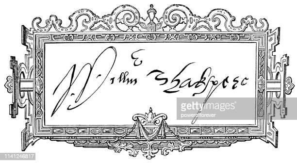 william shakespeare's signature - william shakespeare stock illustrations, clip art, cartoons, & icons