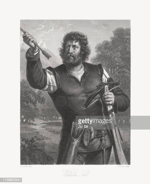 William Tell, legendary folk hero of Switzerland, copper engraving, 1859