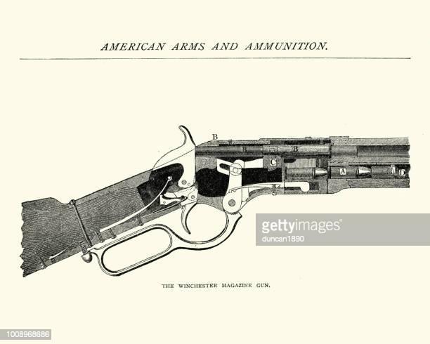 ilustrações de stock, clip art, desenhos animados e ícones de winchester rifle, magazine gun, 19th century - arma de fogo