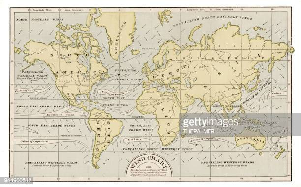 wind chart map 1889 - west direction stock illustrations