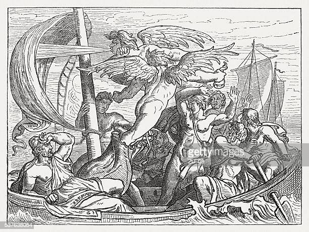 Wind God Aeolus brings Ulysses misfortune, Greek mythology, published 1880