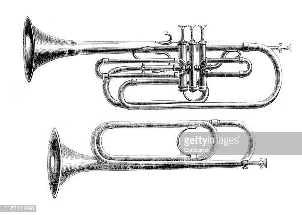 wind instrument trumpet and trombone illustration 1852 - etching stock illustrations