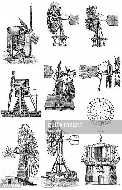 ilustraciones, imágenes clip art, dibujos animados e iconos de stock de motores de viento - molino de viento
