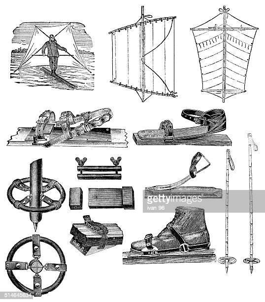 wind skiing - ski goggles stock illustrations, clip art, cartoons, & icons
