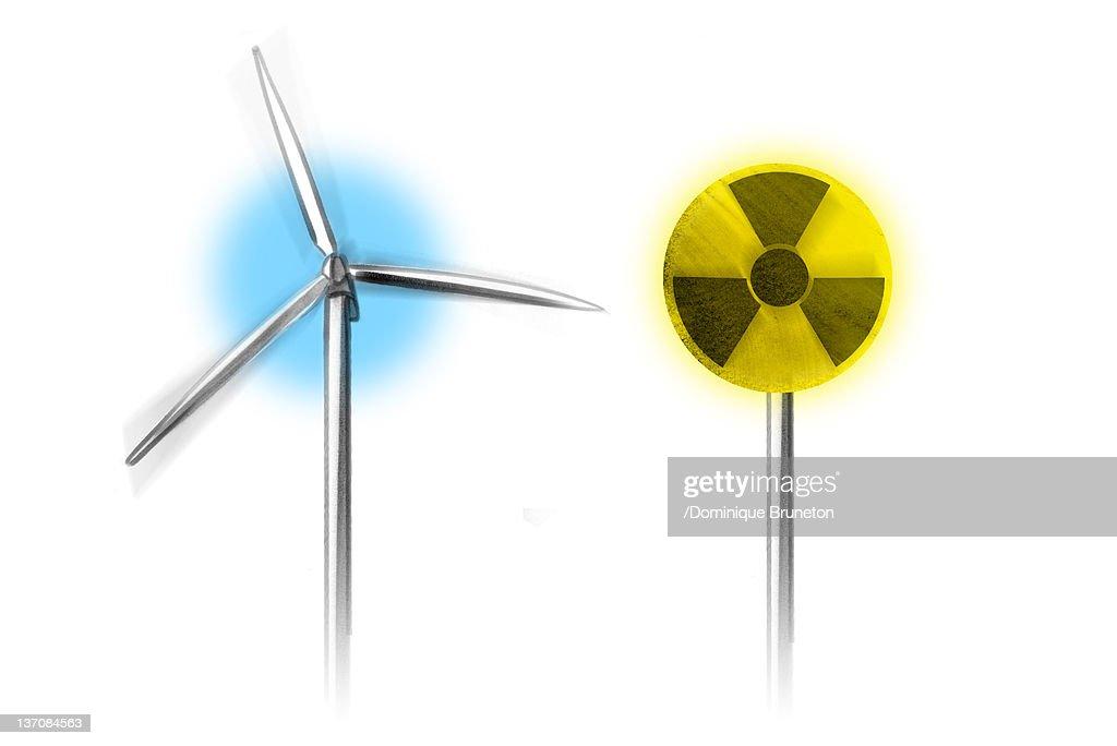 Wind Turbine Along Side With Radiation Warning Symbol Stock