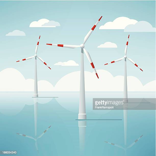 Windkraftanlage vor der Küste Seascape Vektor