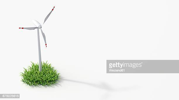 Wind turbine on grass, 3D Rendering