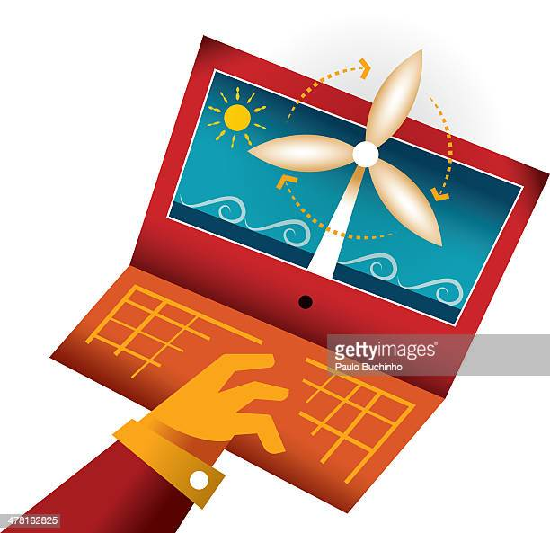 A wind turbine on the screen of a laptop