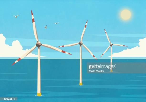 ilustrações de stock, clip art, desenhos animados e ícones de wind turbines in sunny blue ocean - fornecimento de energia