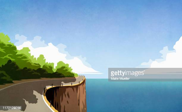 winding cliff road along ocean - silence stock illustrations