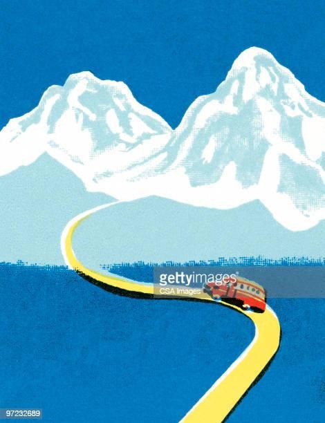 winding mountain road - road stock illustrations