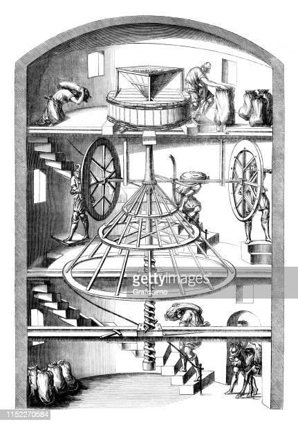 illustrazioni stock, clip art, cartoni animati e icone di tendenza di illustrazione della sezione trasversale interna del mulino a vento del xvi secolo - mulino ad acqua
