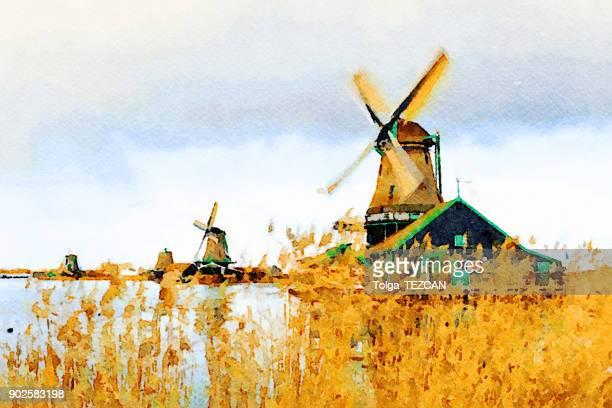 windmills - painting activity stock illustrations, clip art, cartoons, & icons