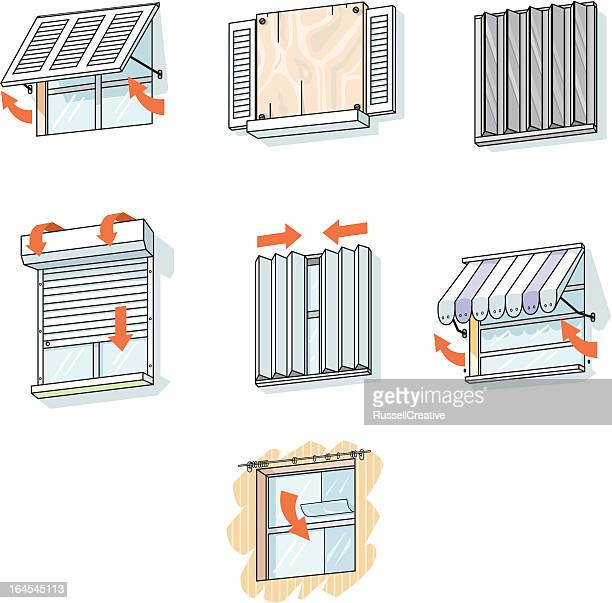 window protection for hurricanes - awning stock illustrations, clip art, cartoons, & icons
