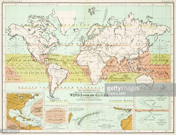winds - map of the world 1861 - hurricane stock illustrations, clip art, cartoons, & icons