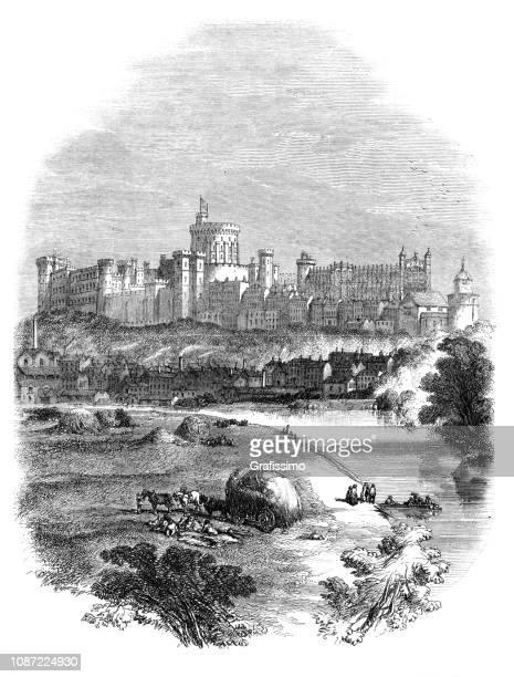 windsor castle and village of windsor 1853 - windsor castle stock illustrations