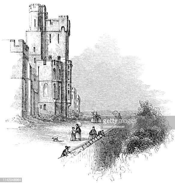 windsor castle at windsor in berkshire, england - 19th century - windsor castle stock illustrations