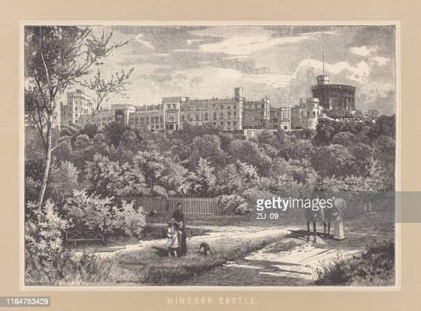 windsor castle, england, uk, wood engraving, published in 1892 - windsor castle stock illustrations