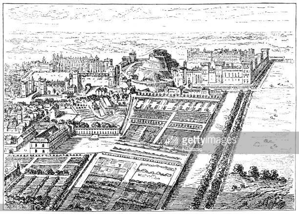 windsor castle in time of edward iii - windsor castle stock illustrations