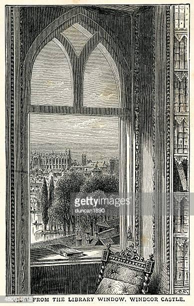 windsor castle library - windsor castle stock illustrations