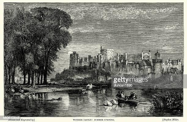 windsor castle on a summer evening - windsor castle stock illustrations