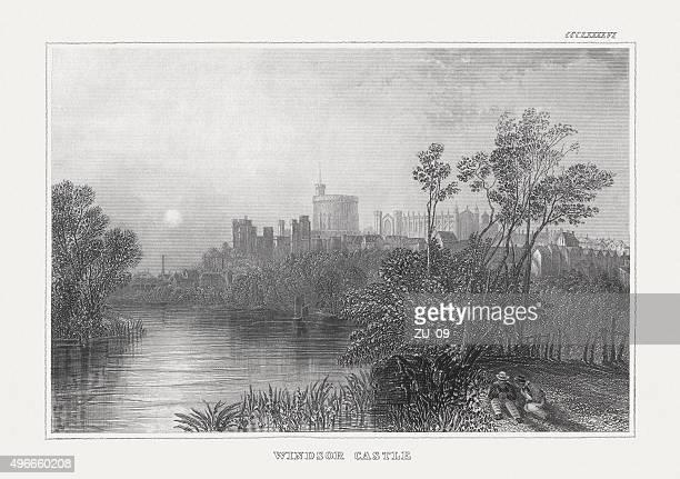 windsor castle, published in 1850 - windsor castle stock illustrations