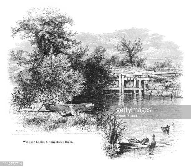 windsor locks, connecticut river, valley of the connecticut, connecticut, united states, american victorian engraving, 1872 - connecticut river stock illustrations, clip art, cartoons, & icons
