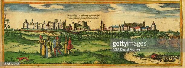 windsor old view - windsor castle stock illustrations