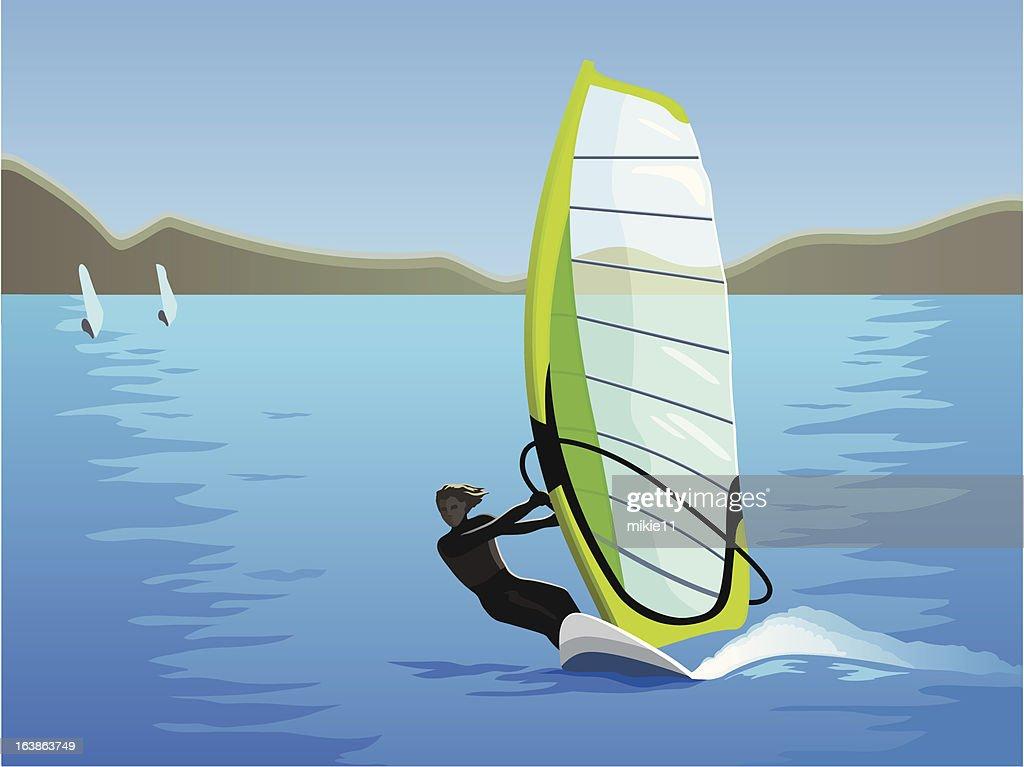Windsurfing in sinny day