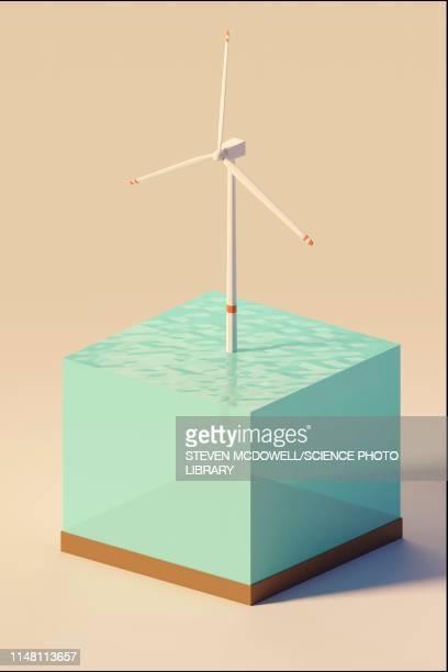 windturbine, illustration - sea stock illustrations