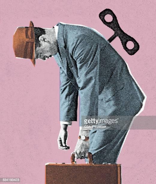 wind-up man - salesman stock illustrations