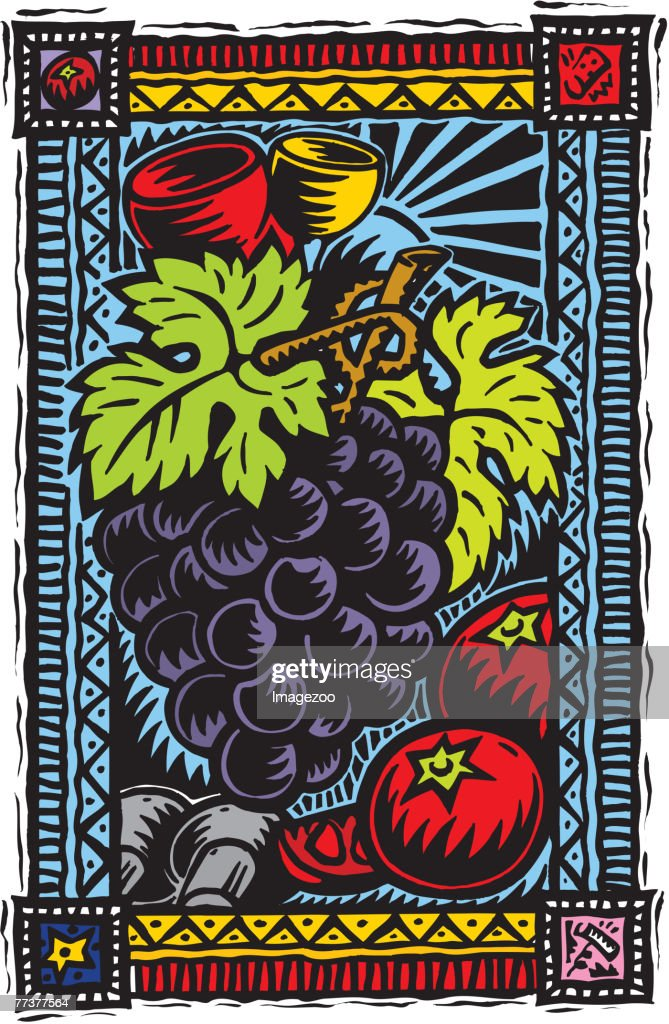 wine and grapes : Illustration