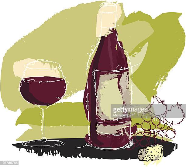 wine bottle and grape - red wine stock illustrations, clip art, cartoons, & icons