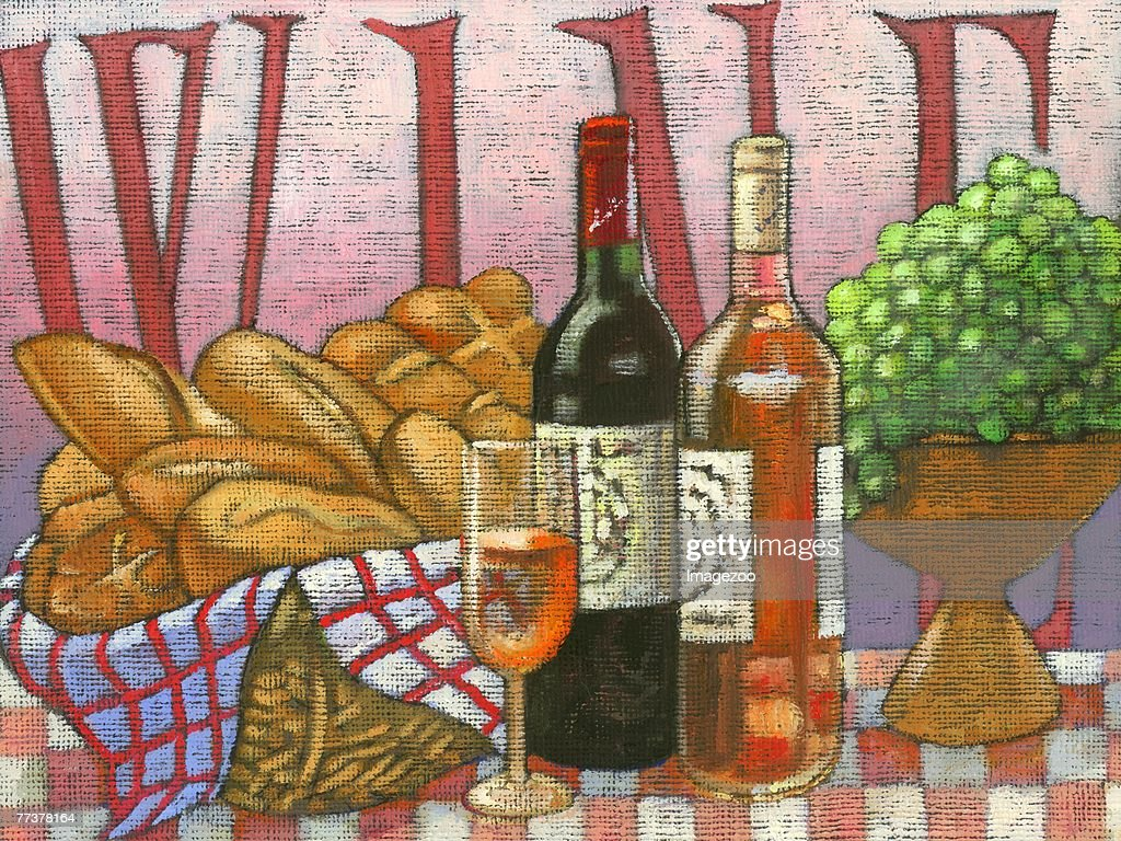 wine, bread, and grapes : Illustration