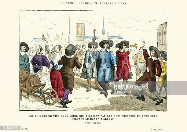 wine criers under louis xiii, paris france - 1600s stock illustrations
