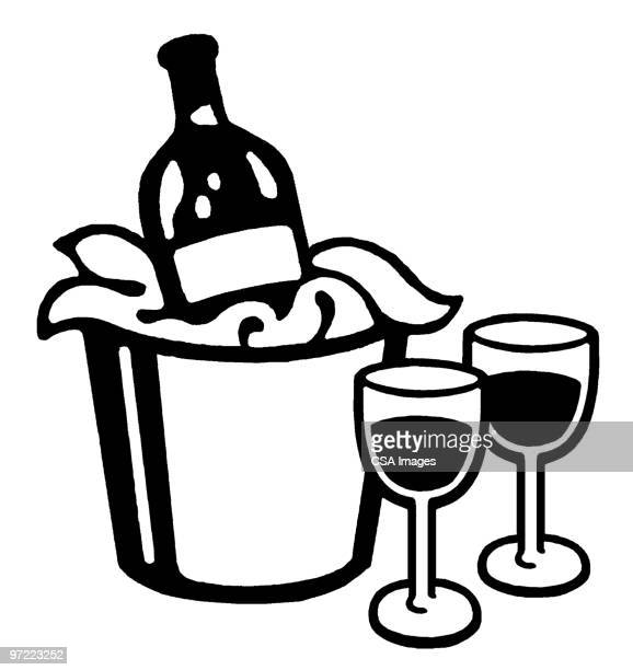 wine - ice bucket stock illustrations, clip art, cartoons, & icons