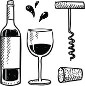 Wine objects vector set