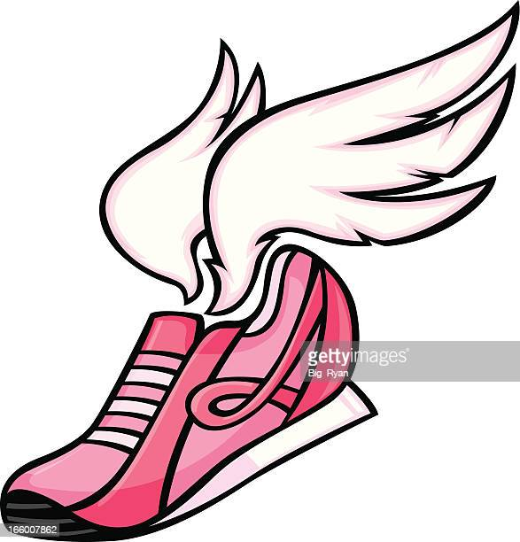 winged awareness shoe - cartoon cancer stock illustrations