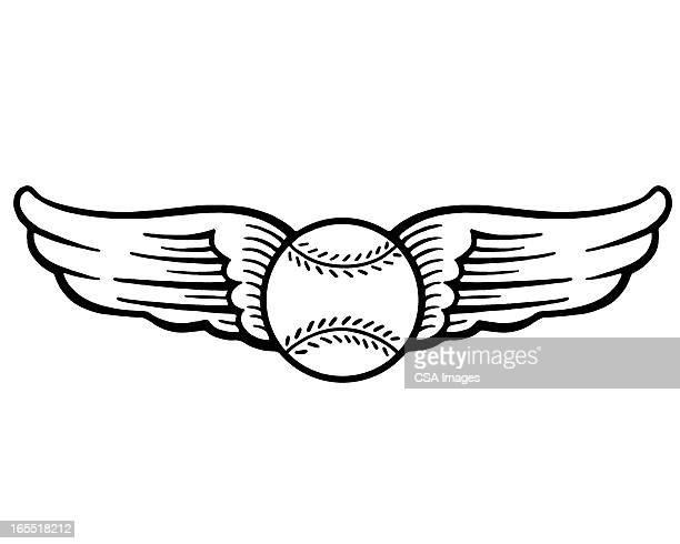winged baseball - american culture stock illustrations
