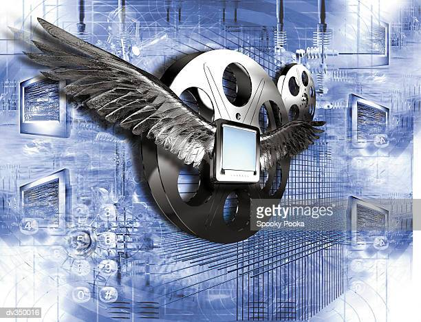 Winged computer flying in front of film reel
