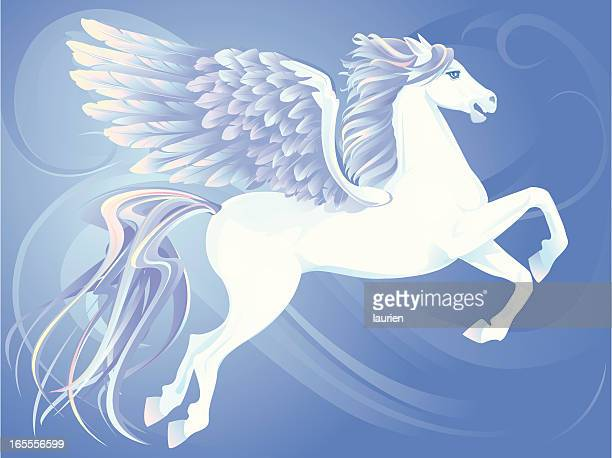 winged horse - pegasus stock illustrations, clip art, cartoons, & icons