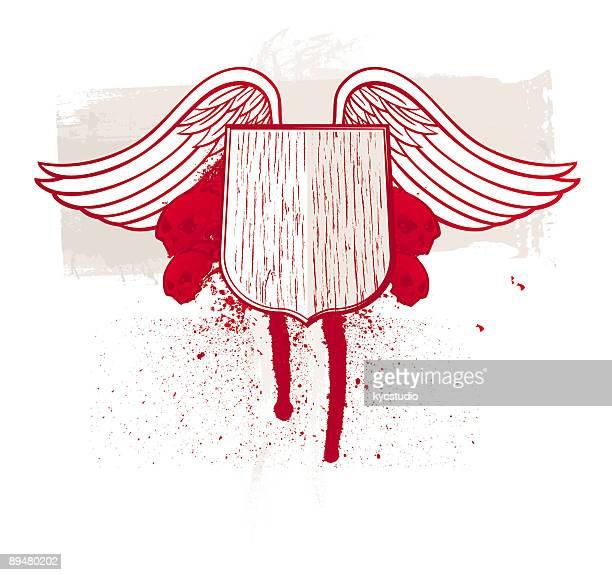 翼レッドのスカルシールド付き - 血しぶき点のイラスト素材/クリップアート素材/マンガ素材/アイコン素材
