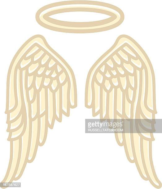 wings of an angel - halo symbol stock illustrations
