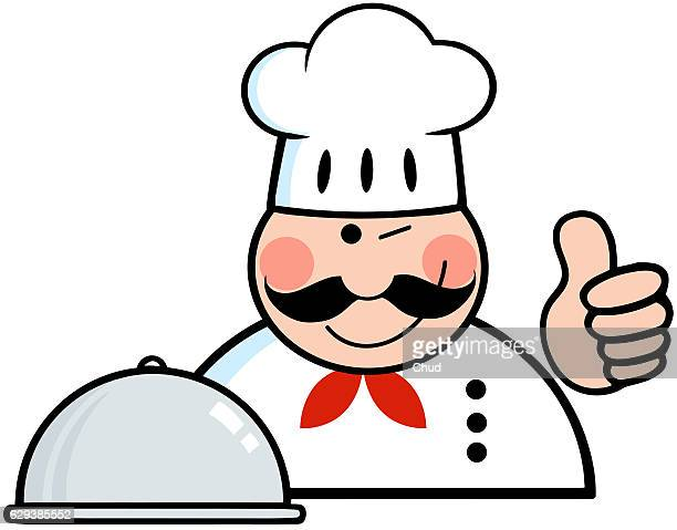winked chef logo with platter - france stock illustrations